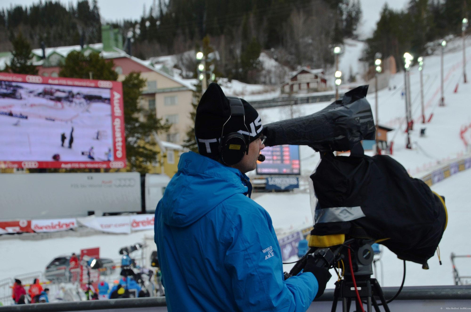 Fredric som kameraman under Alpina Världscupen i Åre