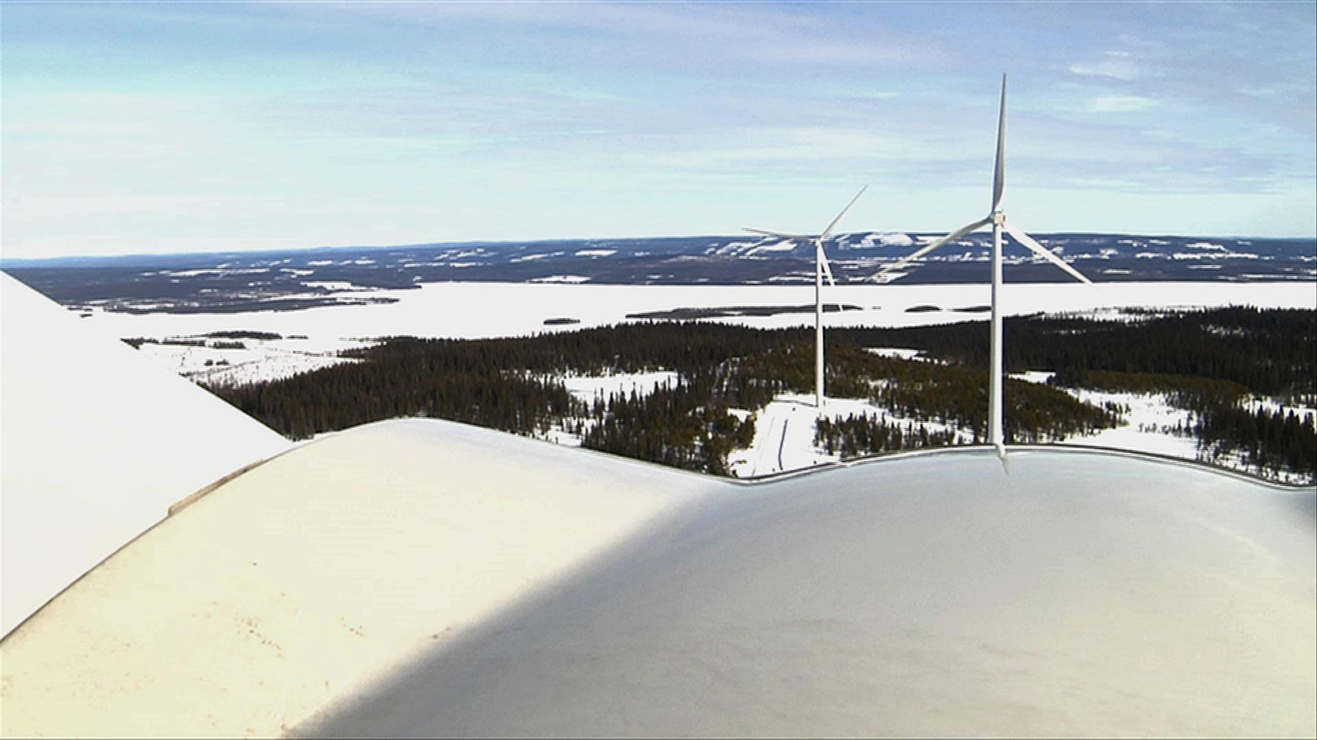 Var längst uppe på ett av verken när jag filmade Vindkraftparken Havsnäs för Vindkraftcentrum